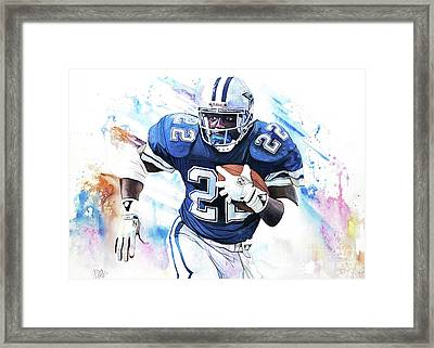 Emmit Smith In Watercolor By Michael Pattison Framed Print