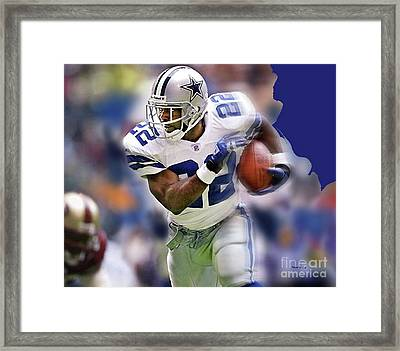 Emmit Smith, Number 22, Running Back, Dallas Cowboys. Framed Print by Thomas Pollart