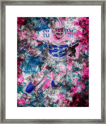 Emmitt Smith Dallas Cowboys Digital Painting 14 Framed Print by David Haskett
