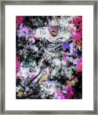 Emmitt Smith Dallas Cowboys Painting Digital 13 Framed Print by David Haskett
