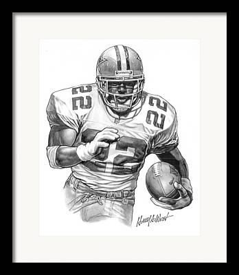 Pro Football Drawings Framed Prints
