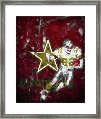 Emmitt Smith Nfl Dallas Cowboys Gold Digital Painting 22 Framed Print by David Haskett