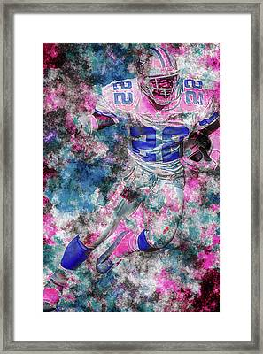 Framed Print featuring the photograph Emmitt Smith Nfl Football Painting Digital  Es22 One by David Haskett