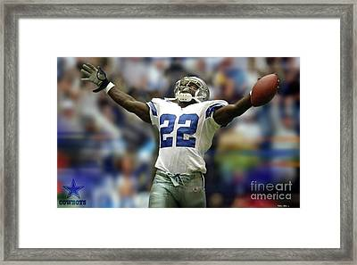 Emmitt Smith, Number 22, Running Back, Dallas Cowboys Framed Print by Thomas Pollart