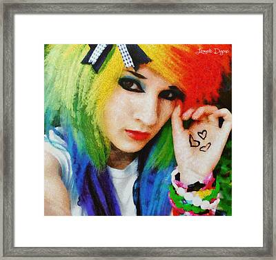 Emo Rainbow Girl - Da Framed Print by Leonardo Digenio
