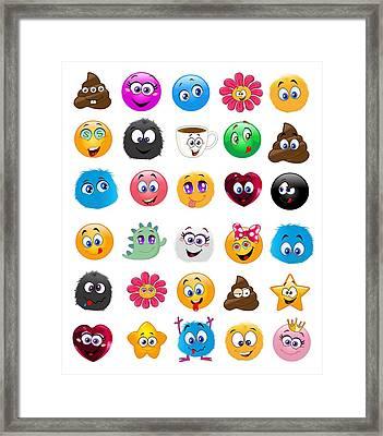 Emoji - Emoticons Framed Print
