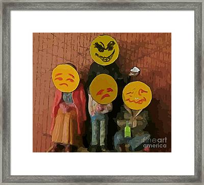 Emoji Family Victims Of Substance Abuse Framed Print by John Malone