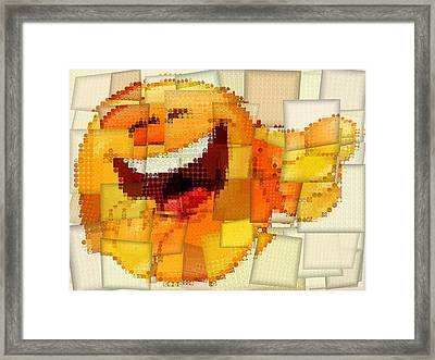 Emoticon Mosaic Cubism Framed Print by Dan Sproul