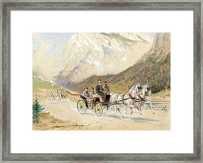 Emperor Franz Joseph I With Crown Prince Rudolf On A Carriage Journey In The Salzkammergut Framed Print