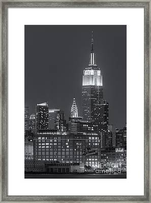 Empire State And Chrysler Buildings At Twilight II Framed Print