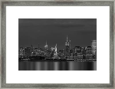 Empire State And Statue Of Liberty Bw Framed Print