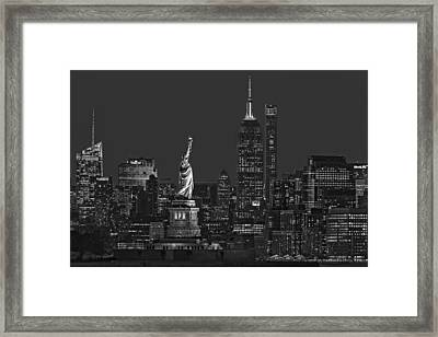 Empire State And Statue Of Liberty II Bw Framed Print