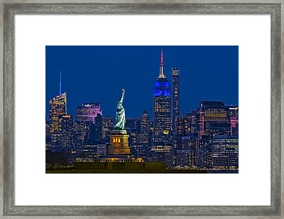 Empire State And Statue Of Liberty II Framed Print by Susan Candelario
