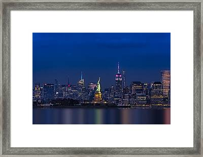 Empire State And Statue Of Liberty Framed Print by Susan Candelario