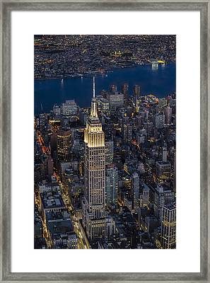 Empire State Building Aerial View Framed Print by Susan Candelario