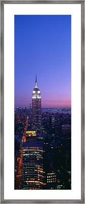Empire State Building At Sunset, View Framed Print