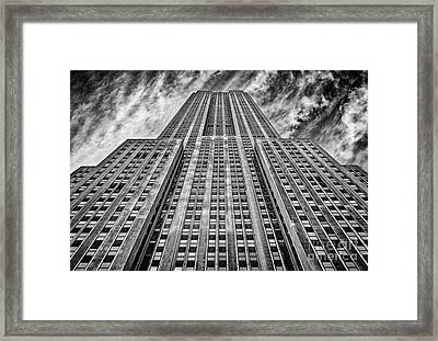 Empire State Building Black And White Framed Print by John Farnan