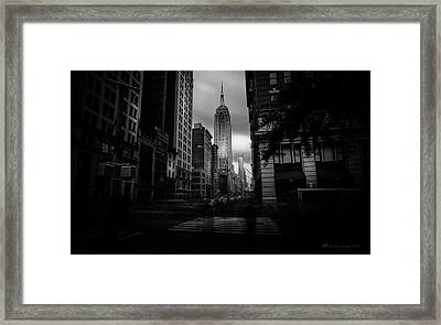 Framed Print featuring the photograph Empire State Building Bw by Marvin Spates
