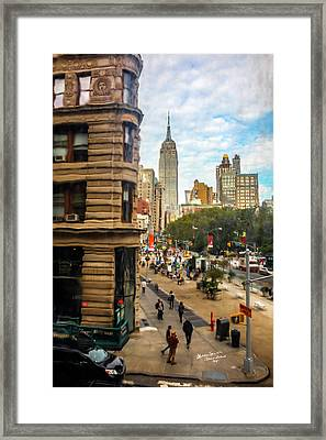 Empire State Building - Crackled View 3 Framed Print