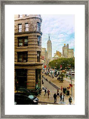 Empire State Building - Crackled View Framed Print