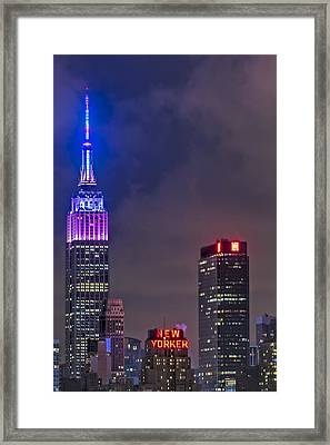 Empire State Building Esb At Night Framed Print