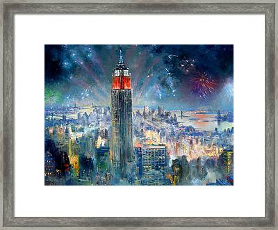 Empire State Building In 4th Of July Framed Print by Ylli Haruni