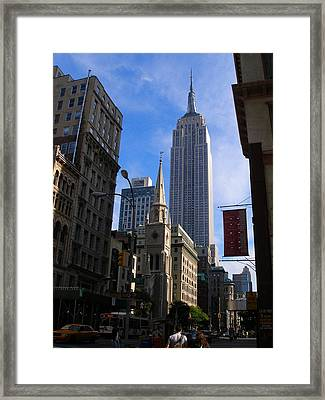Empire State Building-new York City-manhattan Skyline Framed Print by Candace Garcia