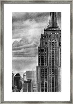 Empire State Building New York Pencil Drawing Framed Print