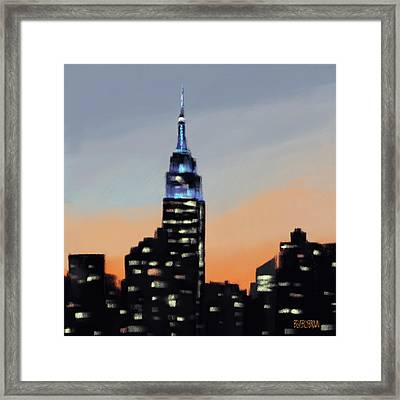 Empire State Building Ombre New York Skyline Framed Print by Beverly Brown