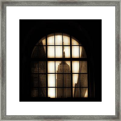 Empire State Building Sepia Framed Print by Andrew Fare