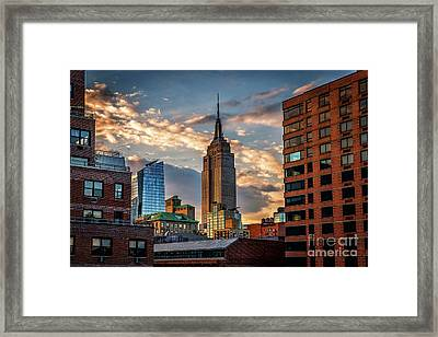 Empire State Building Sunset Rooftop Framed Print