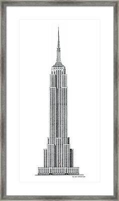 Limited Edition Empire State Building With Flag - Black And White Framed Print