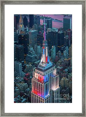 Empire State From Above Framed Print by Inge Johnsson