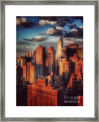 Empire State In Gold Framed Print by Miriam Danar