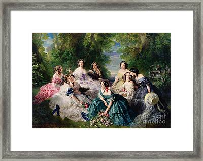 Empress Eugenie Surrounded By Her Ladies In Waiting Framed Print by Franz Xaver Winterhalter