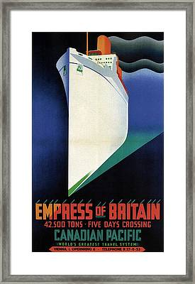 Empress Of Britain - Canadian Pacific - Steamship - Retro Travel Poster - Vintage Poster Framed Print
