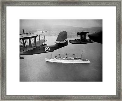 Empress Of Britain Escorted Framed Print by Underwood Archives