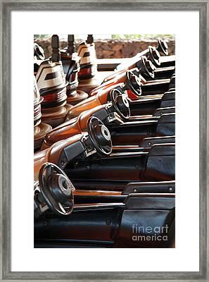 Empty Aligned Bumper Cars Framed Print