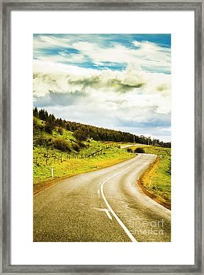Empty Asphalt Road In Countryside Framed Print