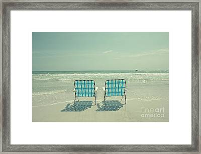 Empty Beach Chairs Framed Print