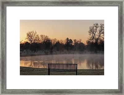 Empty Bench At Misty City Park Lake Framed Print
