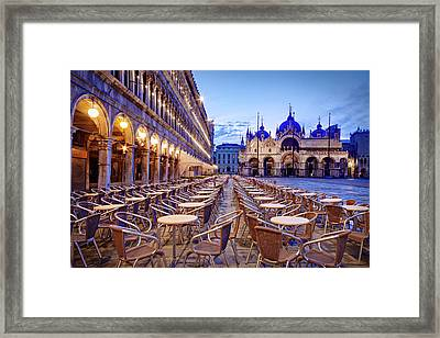 Empty Cafe On Piazza San Marco - Venice Framed Print