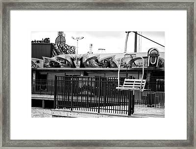 Empty Chair Lift Infrared Framed Print by John Rizzuto