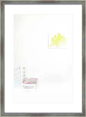 Empty Chair With Yellow Roses Framed Print