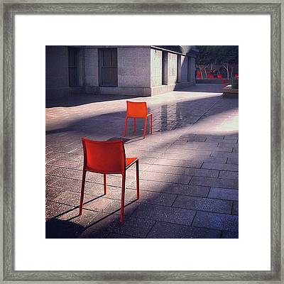Empty Chairs At Mint Plaza Framed Print by Julie Gebhardt