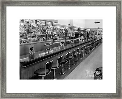 Empty Diner, C.1950-60s Framed Print