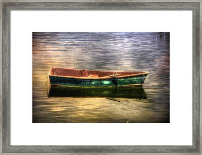 Empty Docked Rowboat Framed Print