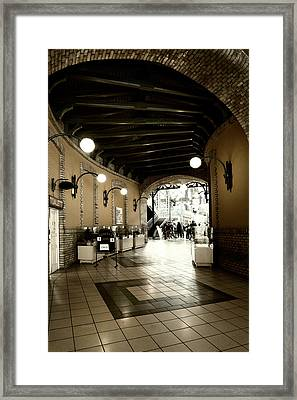 Empty Market Tunnel Framed Print