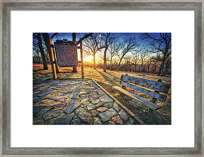 Empty Park Bench - Sunset At Lapham Peak Framed Print by Jennifer Rondinelli Reilly - Fine Art Photography
