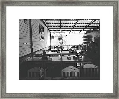 Empty Seat In Open Local Restaurant Black And White Color Framed Print by Siri
